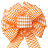 "Gingham Check Orange & White Bow (2.5""ribbon~10""Wx20""L) - Alpine Holiday Bows"