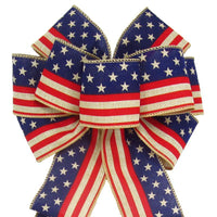 "Wired Stars & Stripes Natural Bow (2.5""ribbon~8""Wx16""L) - Alpine Holiday Bows"