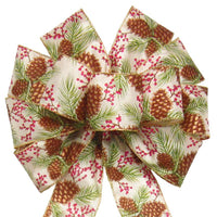 "Wired Pinecones & Berries Bow (2.5""ribbon~10""Wx20""L) - Alpine Holiday Bows"