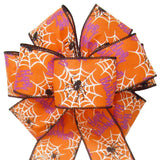 "Wired Halloween Spiders Bow (2.5""ribbon~8""Wx16""L) - Alpine Holiday Bows"