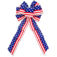 "Wired Stars & Stripes White Bow (2.5""ribbon~8""Wx16""L) - Alpine Holiday Bows"