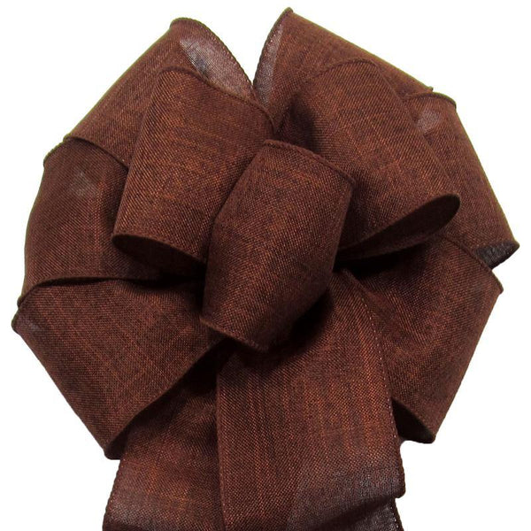 "Wired Brown Linen Bow (2.5""ribbon~8""Wx16""L) - Alpine Holiday Bows"