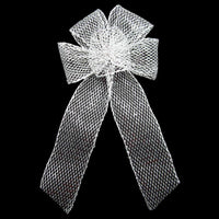 "Wired Outdoor Mesh Silver Bow (2.5""ribbon~6""Wx10""L) - Alpine Holiday Bows"