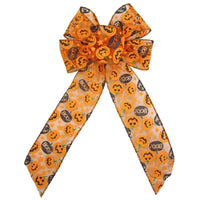 "Wired Halloween Pumpkins Bow (2.5""ribbon~6""Wx10""L) - Alpine Holiday Bows"