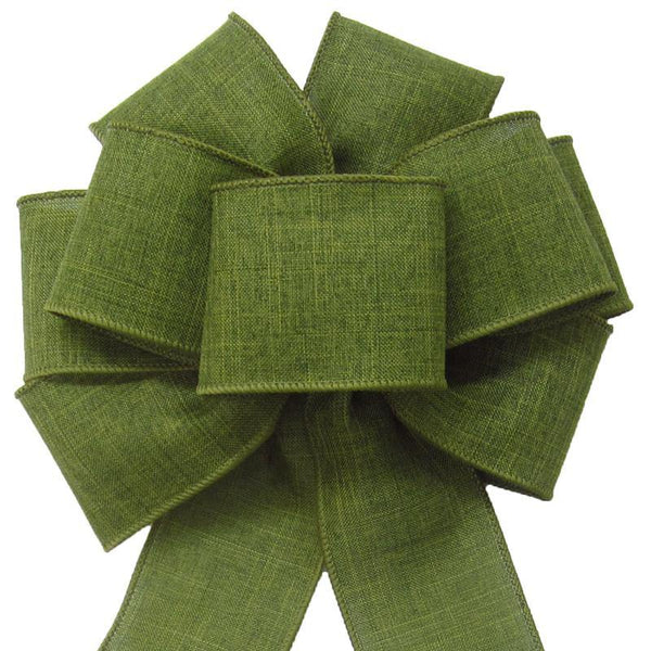 "Wired Moss Green Linen Bow (2.5""ribbon~8""Wx16""L) - Alpine Holiday Bows"