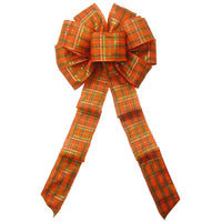 "Wired Pumpkin Plaid Bows (2.5""ribbon~10""Wx20""L) - Alpine Holiday Bows"