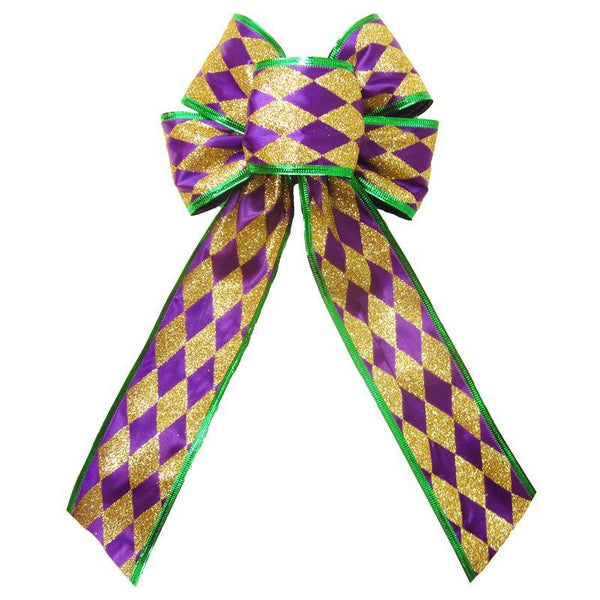 "Wired Mardi Gras Harlequin Glitter Bow (2.5""ribbon~6""Wx10""L) - Alpine Holiday Bows"