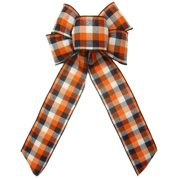 "Wired Buffalo Plaid Ivory Orange Black Linen Bows (2.5""ribbon~6""Wx10""L) - Alpine Holiday Bows"