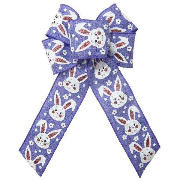 "Wired Purple Linen Easter Bunny Bow (2.5""ribbon~6""Wx10""L) - Alpine Holiday Bows"