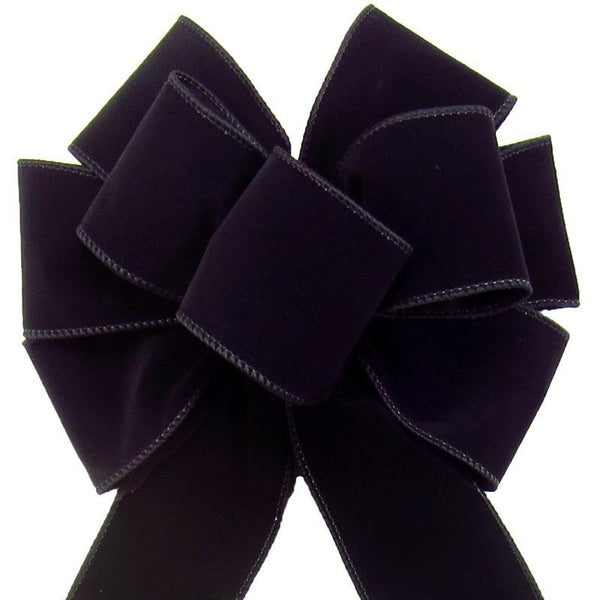"Wired Indoor Outdoor Black Velvet Bow (2.5""ribbon~8""Wx16""L) - Alpine Holiday Bows"