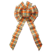 "Wired Scarecrow Plaid Linen Bows (2.5""ribbon~10""Wx20""L) - Alpine Holiday Bows"