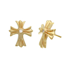Load image into Gallery viewer, a&g-rock-yellow-gold-cross-earring-diamond-stud