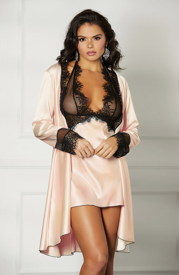 31512 Robe Blush/Black by Shirley of Hollywood