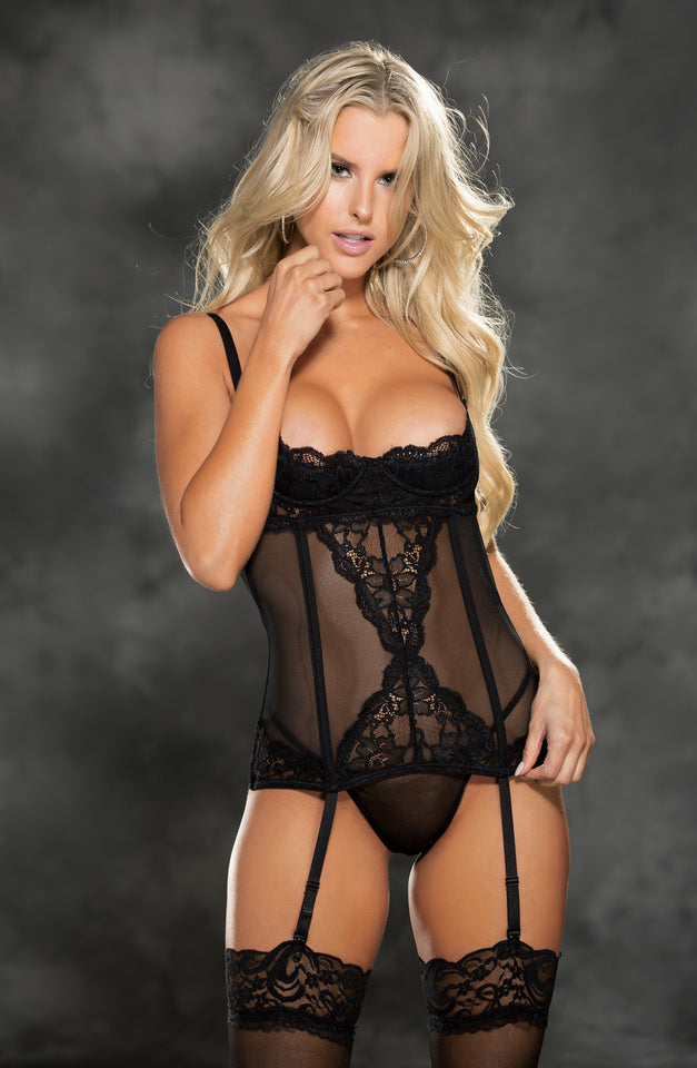 31417 Set Shelf Cup Bustier Black by Shirley of Hollywood