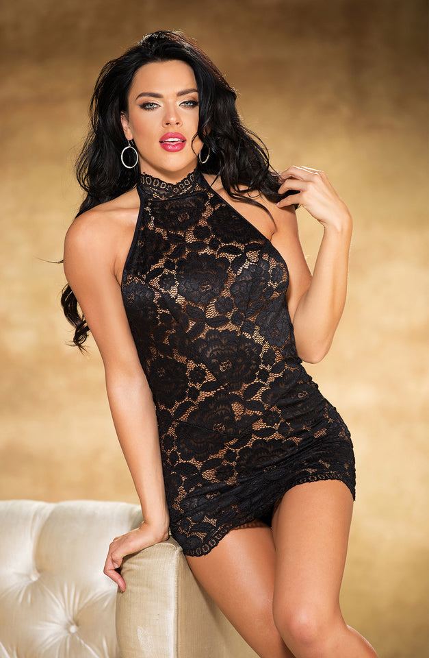 25776 Set Halterneck Chemise Black by Shirley of Hollywood