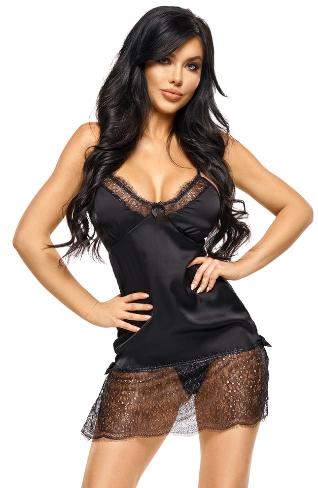 Sandra Set Chemise Black by Beauty Night