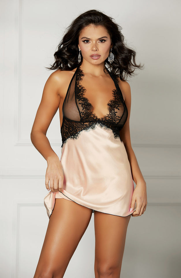 31511 Set Chemise Blush/Black by Shirley of Hollywood