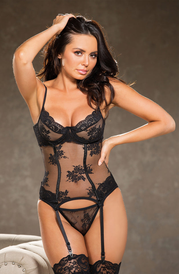 26962 Set Lace Bustier Black by Shirley of Hollywood