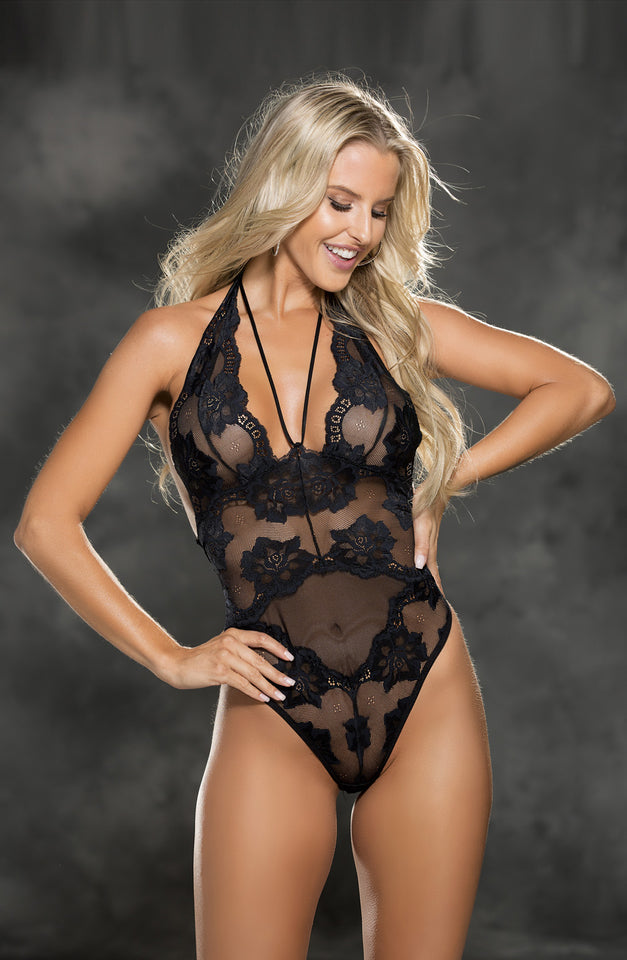 25814 Lace Teddy Black by Shirley of Hollywood