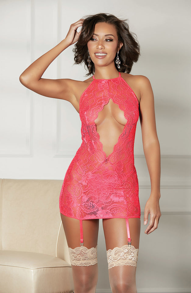 25908 Gartered Chemise Coral by Shirley of Hollywood