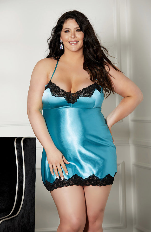 X31475 Chemise Plus Size Peacock Blue by Shirley of Hollywood