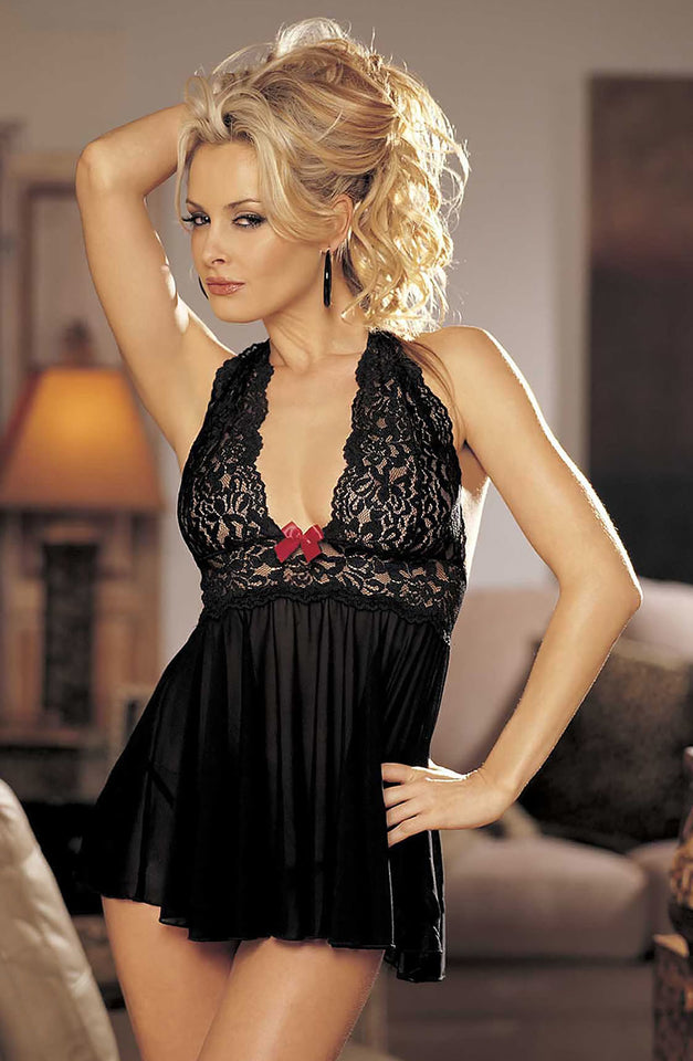 96164 Set Babydoll Black/Red by Shirley of Hollywood