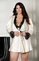 X31512 Robe Plus Size Blush/Black by Shirley of Hollywood