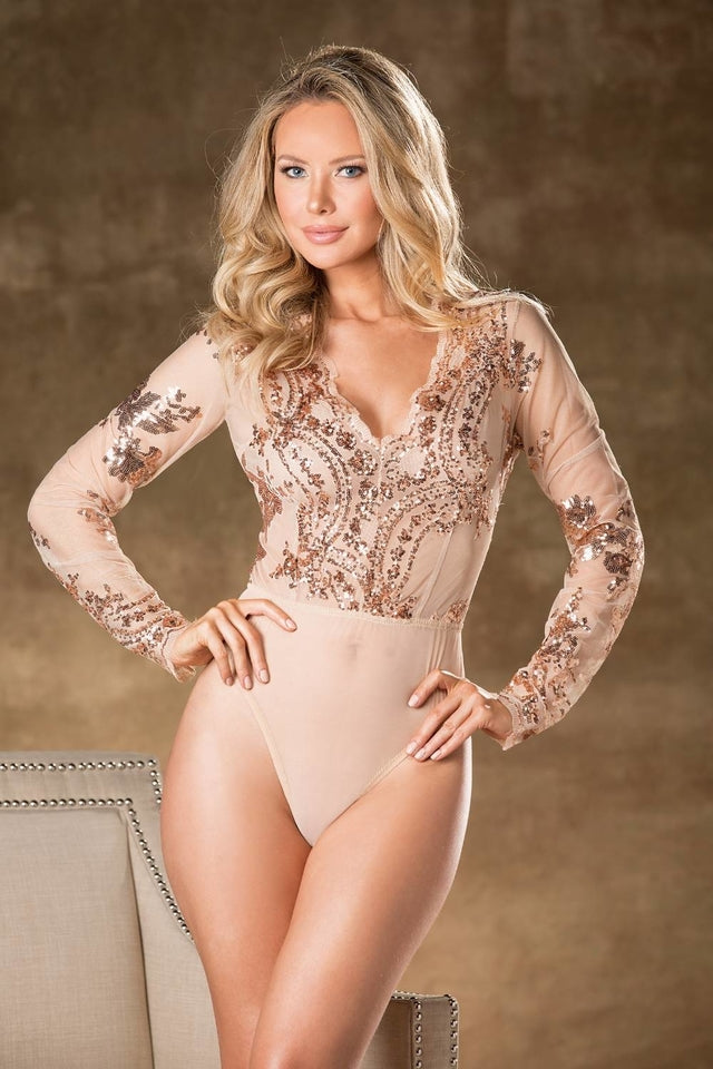 Sequined Bodysuit Nude by Shirley of Hollywood