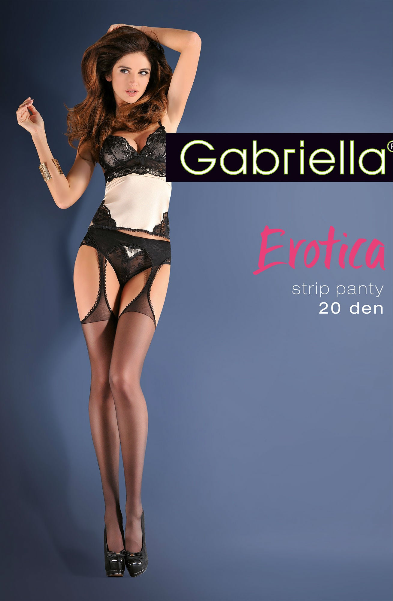 Calze Strip Panty Black by Gabriella