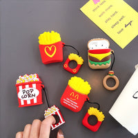 For Airpods Silicone Protective Case For AirPods Hamburger Popcorn Bluetooth Earphone Charger Box Cover Anti-lost Lanyard Gift