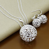 New Trendy 925 Sterling Silver Jewelry Sets Simple Fashion Insect Moon Round Ball Necklace Earrings Sets For Woman Gift