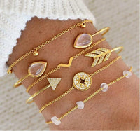 30 Styles Bohemian Bracelet Set For women Shell Star Map lotus pineapple Heart Natural stone Beads chains Bangle Boho Jewelry