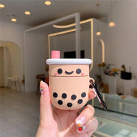 Cute Boba Headset Case For AirPods 2 Silicone Case Milk Bubble Tea Earphone Protective Cover For Air pods With Finger Ring Strap