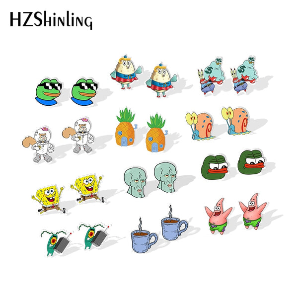 2019 New Angry Pepe The-Frog Resin Earrings Cute Cartoon Pineapple House Acrylic Earrings Epoxy Silver Earring