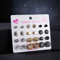 30 Pairs/set Vintage Silver Alloy Crystal Rhinestone Small Earrings For Women Cute Metal Resin Flower Stud Earrings Set  Mixed
