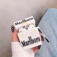 Cigarette box Cartoon Case For airpods 1 2 Cover Wireless Bluetooh ear phone airpod Case Carabiner Soft Silicone air pods Skin