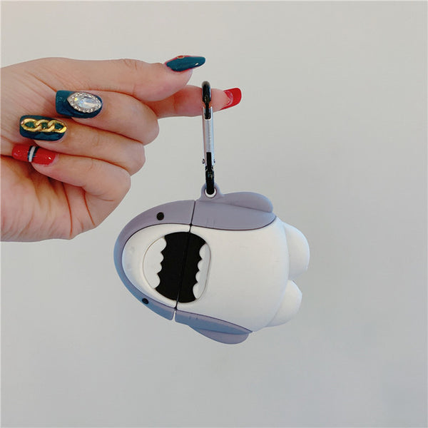 For AirPod 2 Case 3D White Shark Cartoon Soft Silicone Wireless Earphone Cases For Apple Airpods Case Cute Cover Funda