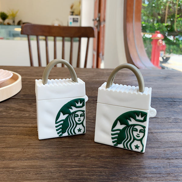 Funny 3D Tote Bag Green Coffee Bluetooth wireless headset  soft cover For Airpods Pro 1/2/3 Earphone Protective anti-drop cases