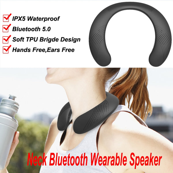 Neck-mounted bluetooth speaker portable wireless speaker bass bluetooth 5.0 FM radio support SD card slot