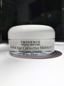 a jar of the Coconut Age Corrective Moisturizer by Eminence. the jar is short and wide.