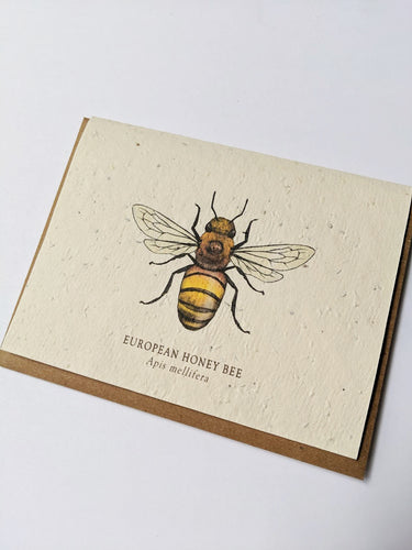 a plantable seed card - the card has a textured look from the seeds imbedded in the paper. There is a bee drawing on this one that says