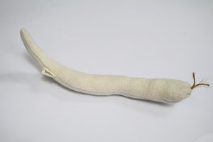 a snake cat toy made of hemp and organic cotton. the snake's tongue is made of rope.