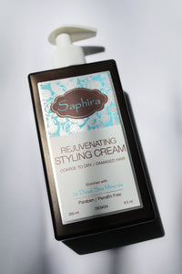 a bottle of rejuvenating styling cream by Saphira - for coarse to dary/damaged hair