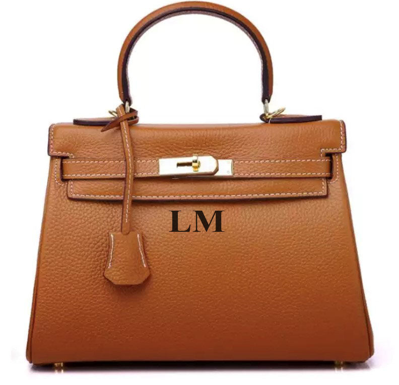 LE MIEN 'ARABELLA' TAN LEATHER CROSSBODY BAG - INITIALS