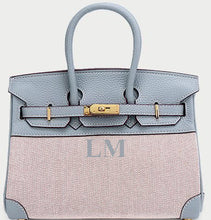 Load image into Gallery viewer, LE MIEN 'ATHENA' BLUE LEATHER & CANVAS HANDBAG - INITIAL