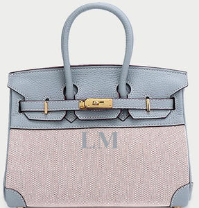 LE MIEN 'ATHENA' BLUE LEATHER & CANVAS HANDBAG - INITIAL