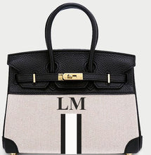 Load image into Gallery viewer, LE MIEN 'ATHENA' CANVAS & BLACK LEATHER HANDBAG - STRIPES