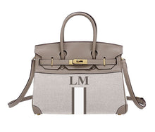 Load image into Gallery viewer, LE MIEN 'ATHENA' CANVAS & ELEPHANT LEATHER HANDBAG - STRIPES