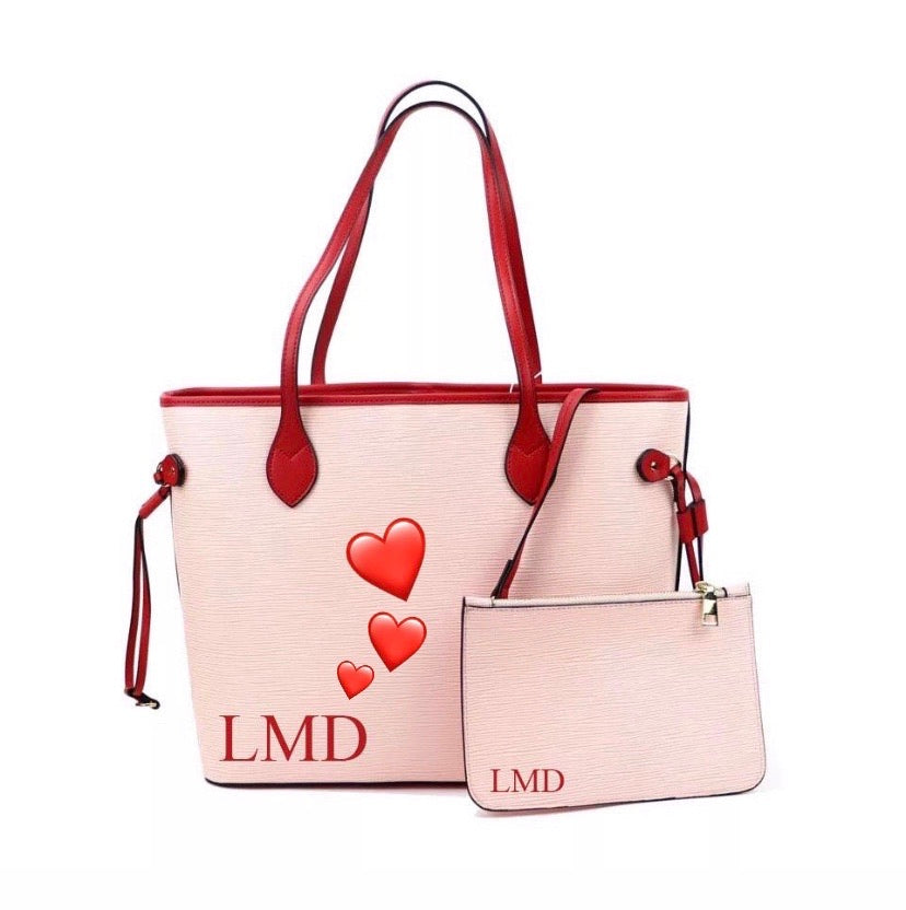"LE MIEN ""ALEXA"" LIMITED EDITION  PINK PERSONALISED LEATHER TOTE - RED HEARTS"