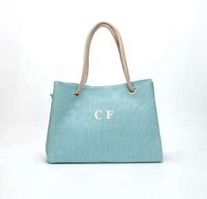 "LE MIEN ""EVERYDAY LINEN"" BAG - TURQUOISE WHITE  LETTERS"
